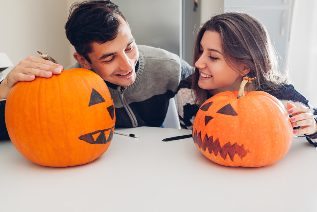 Couple celebrating Halloween
