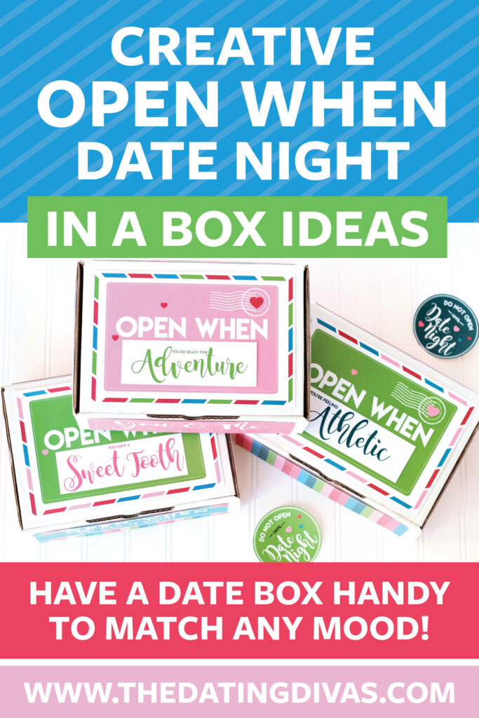 I LOVE this Open When Date in a Box idea! The perfect gift idea for my anniversary! Planned dates for the whole year all ready to go! #dateinabox #easydateideas