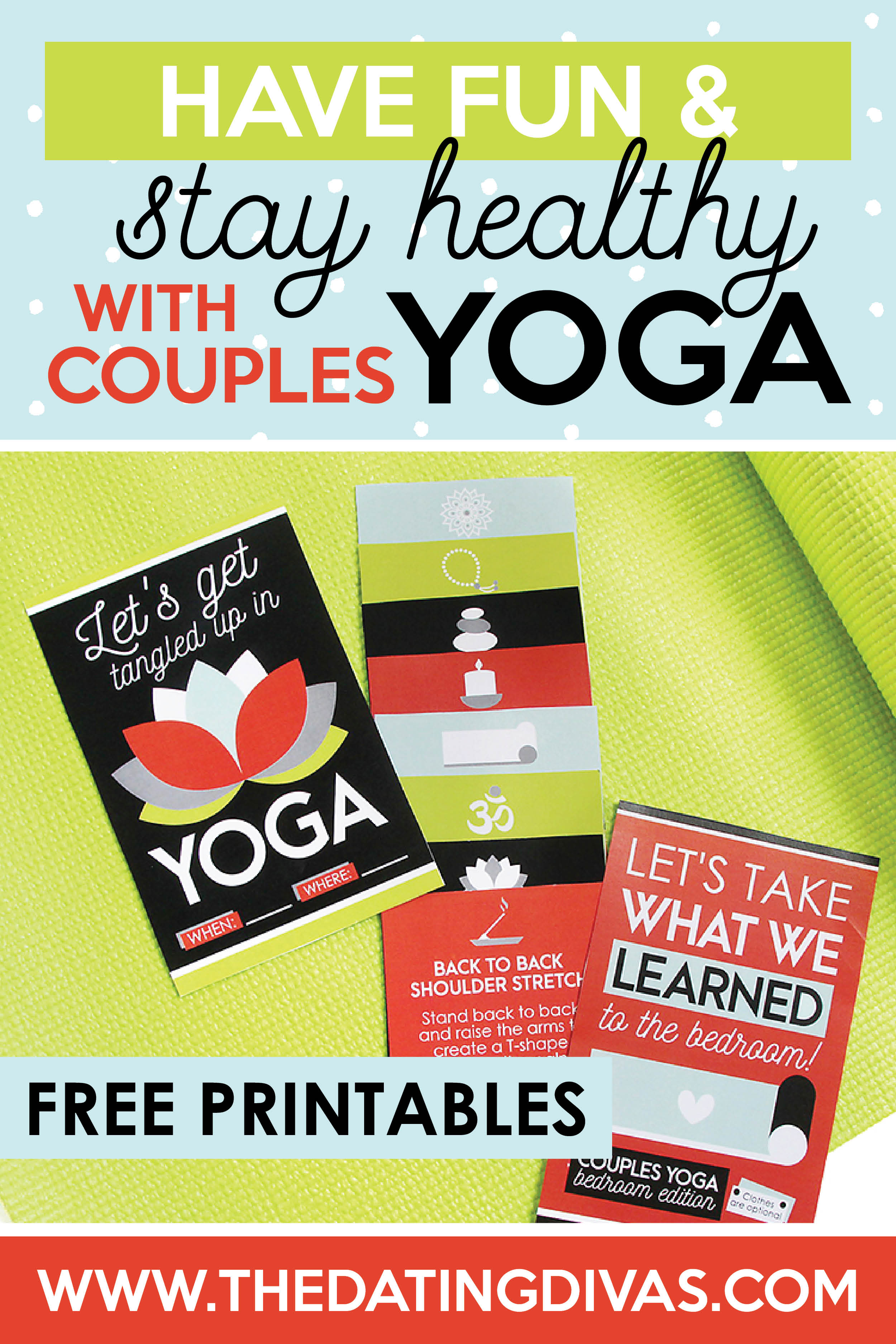 A fun and unique way to stay healthy while keeping the intimacy alive doing couples yoga! Included are cute invites and yoga poses for 2. #couplesyoga #yogadatenight