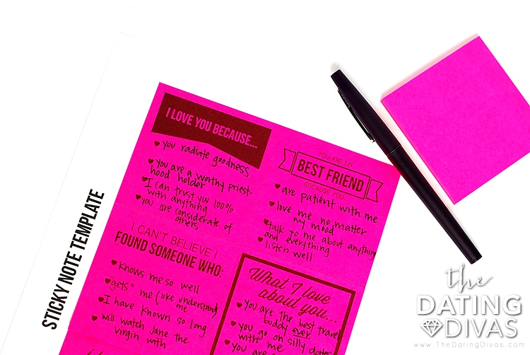 A printable sticky note with cute messages written on it | The Dating Divas