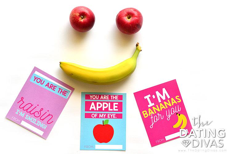 Kids Valentine cards for healthy snacks.