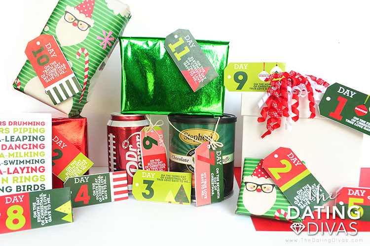 12 days of Christmas wrapping materials for romantic gifts for him.