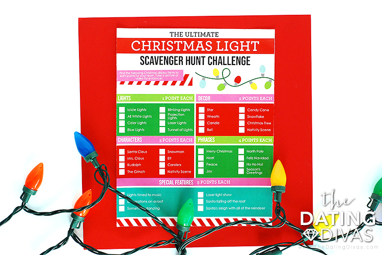 Free Christmas Lights Scavenger Hunt Ideas Printable List