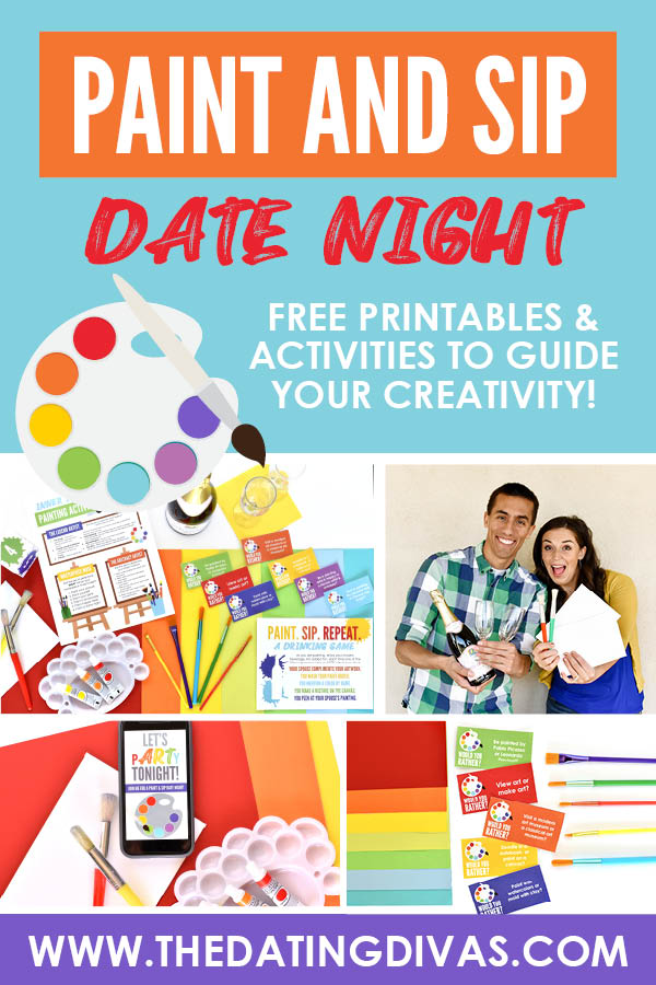 A Paint and Sip date night that you can do at home! I have always wanted to do one of these. Free printable activities! #paintandsip #paintnightdate #paintanddrink