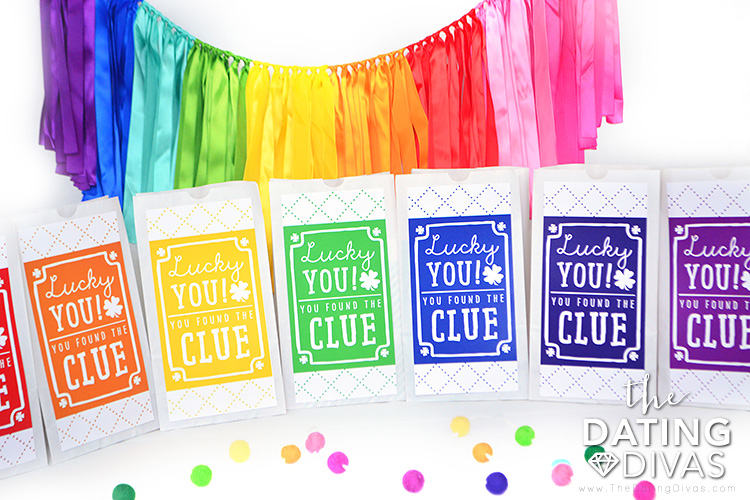 Colorful Clue Bags for a St. Patrick's Day Scavenger Hunt.