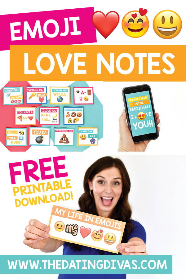 These romantic emoji love notes and text messages are so clever! My sweetheart will love these! Free printable download from The Dating Divas. #emojilovenote #romanticemoji #emojitext