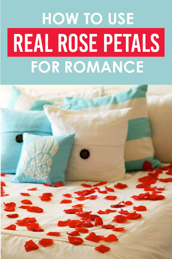 Using real rose petals will unquestionably make your night romantic! You'll love these rose petal ideas! #Romance #RosePetals