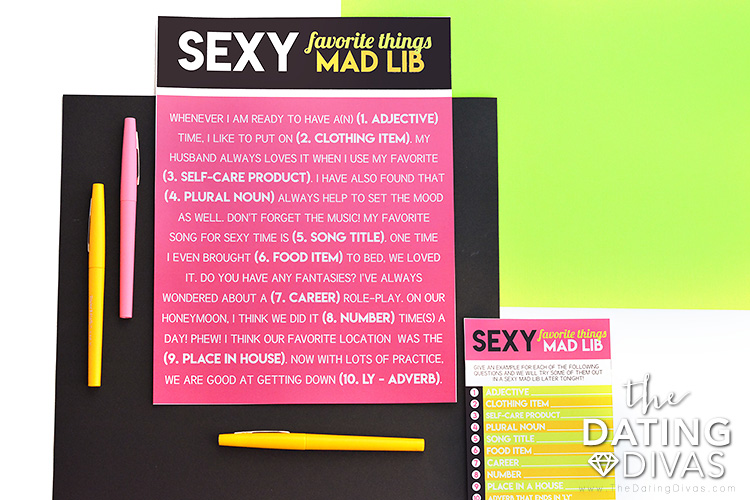 Sexy Mad Libs Activity for Girl's Night