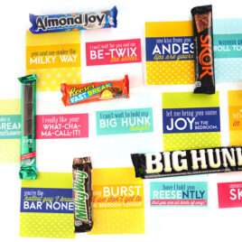 Sexy puns for different candy bars.