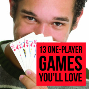 Man playing 1 player game holds a run of cards | The Dating Divas