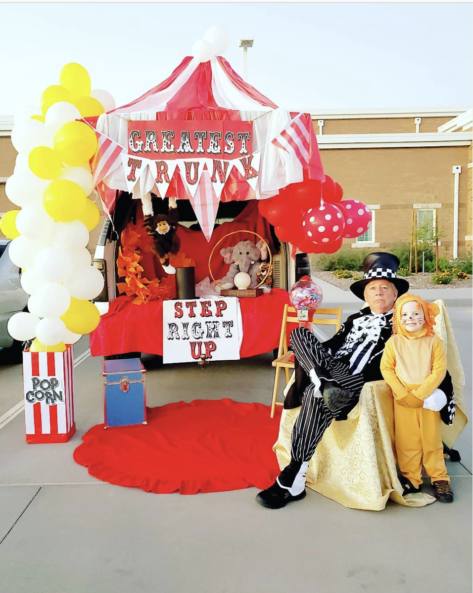 Trunk Decorated as a Circus Tent - a great Trunk or Treat Idea | The Dating Divas