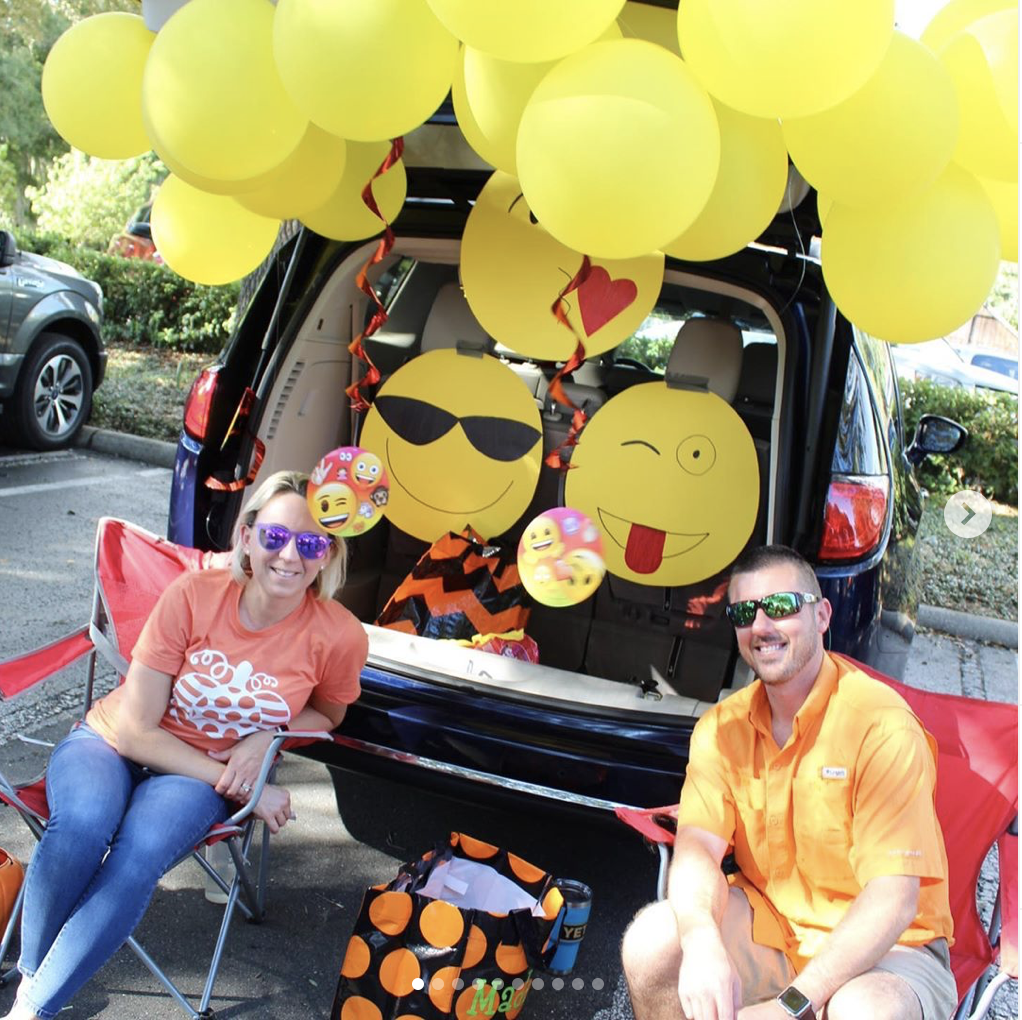Trunk decorating for a Trunk or Treat Halloween Event themed with Emoji | The Dating Divas