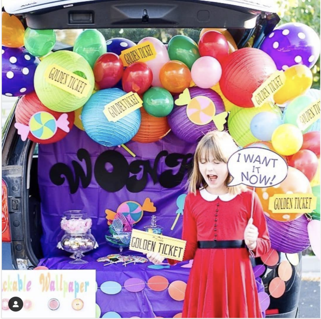 Car Trunk Decorated as Willy Wonka's Chocolate Factory for a Trunk or Treat Halloween Event | The Dating Divas