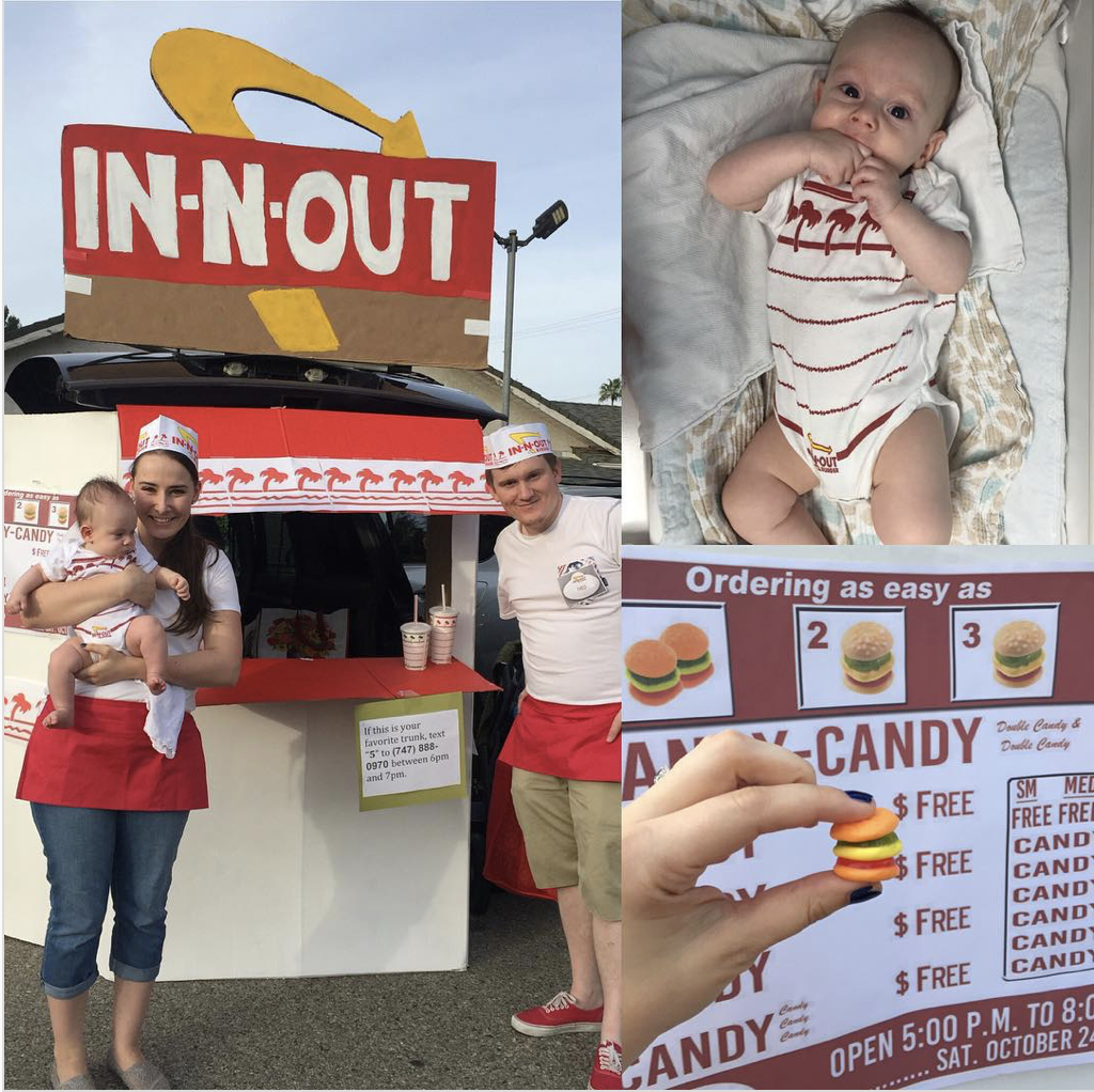 Trunk decorated as an In-n-Out restaurant for a Trunk or Treat event | The Dating Divas