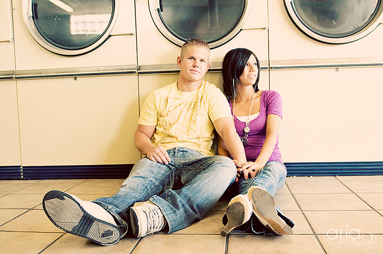Laundromat location for couple pictures. | The Dating Divas