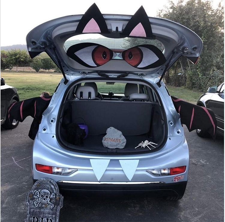 Trunk decorated as a bat - a great trunk or treat idea for Halloween | The Dating Divas