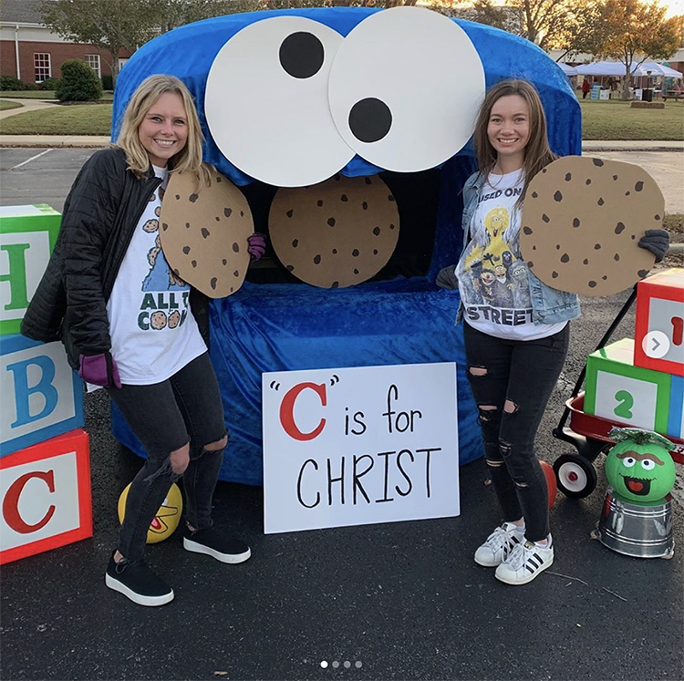 "A trunk decorated as Cookie Monster with a sign that reads ""C is for Christ"" This is a simple and fun idea for a church trunk or treat party 
