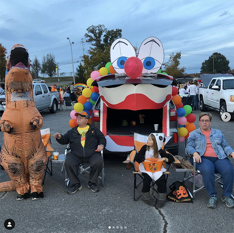 A trunk decorated as a large mouth of a circus clown. The trunk is the mouth of the clown. This is a very popular and easy trunk or treat idea. | The Dating Divas