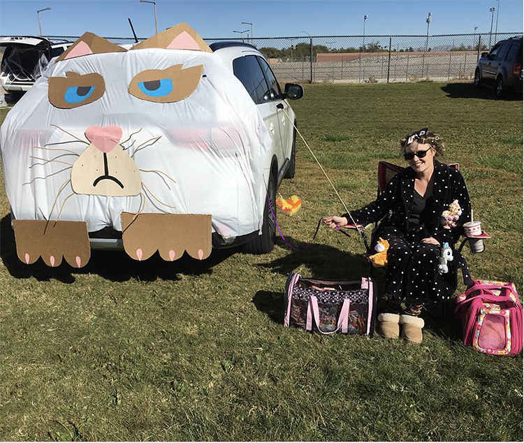Trunk decorated as a large cat a great trunk or treat idea for Halloween | The Dating Divas