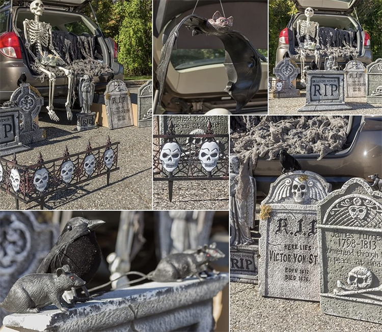 A car trunk decorated for a trunk or treat. It has very various tombstones and skeleton. This is a fun idea for a scary trunk or treat theme | The Dating Divas