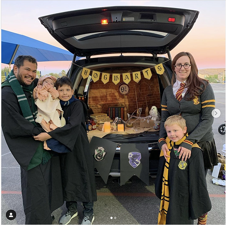 Trunk decorated with a theme for the movie Harry Potter. This is a great trunk or treat idea | The Dating Divas