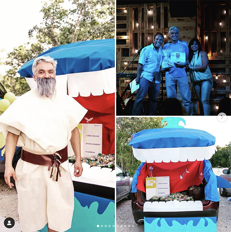 A trunk decorated as a whale. A man dressed as Jonah gives out the candy. This is a fun trunk or treat theme for church. | The Dating Divas