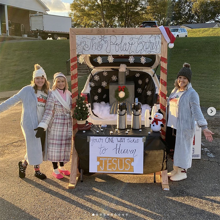 "A trunk decorated as the train from ""The Polar Express"" book and movie. The sign says ""your one-way ticket to heaven is Jesus"". This is a fun trunk or treat theme for a church trunk or treat. 