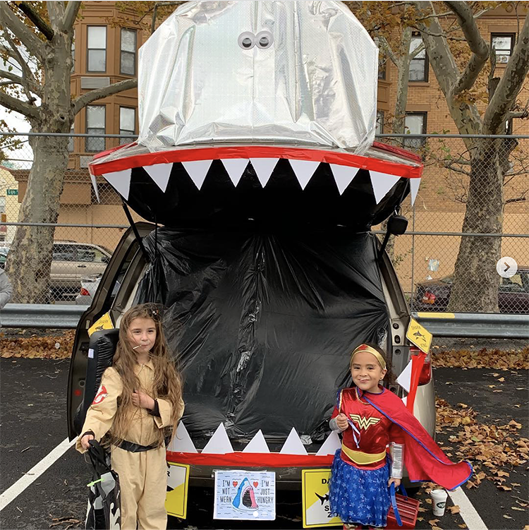 Trunk decorated as a shark - a great trunk or treat idea | The Dating Divas