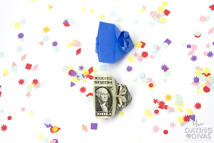 Easy guide to making origami out of a dollar bill. | The Dating Divas