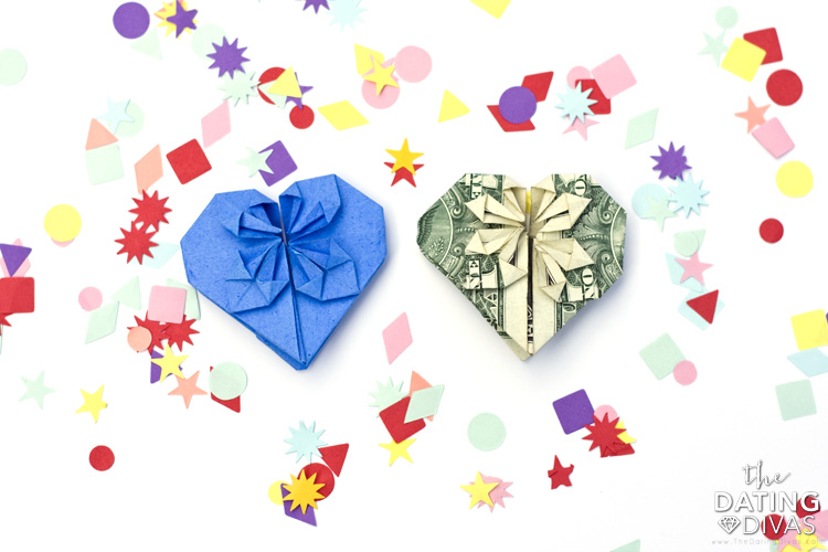 A step-by-step guide showing you how to make an origami heart out of a dollar bill| The Dating Divas