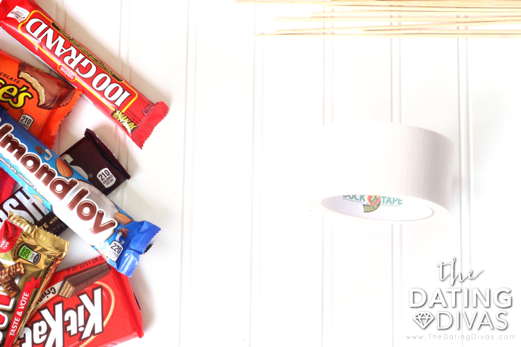 Tons of different candy bars and duck tape to build a special candy bouquet. | The Dating Divas