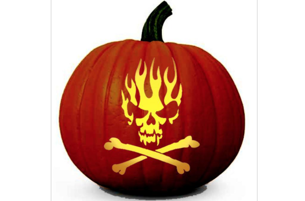 Skull, cross bones, flames ideas for carving pumpkins. | The Dating Divas