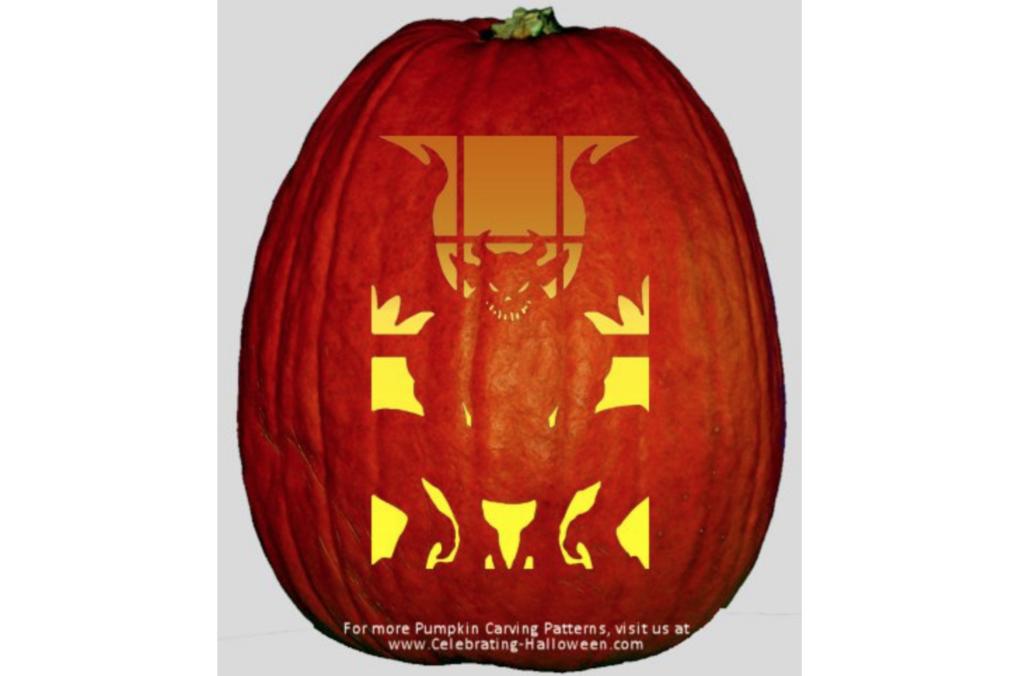 Gargoyle spooky pumpkin stencil ideas. | The Dating Divas