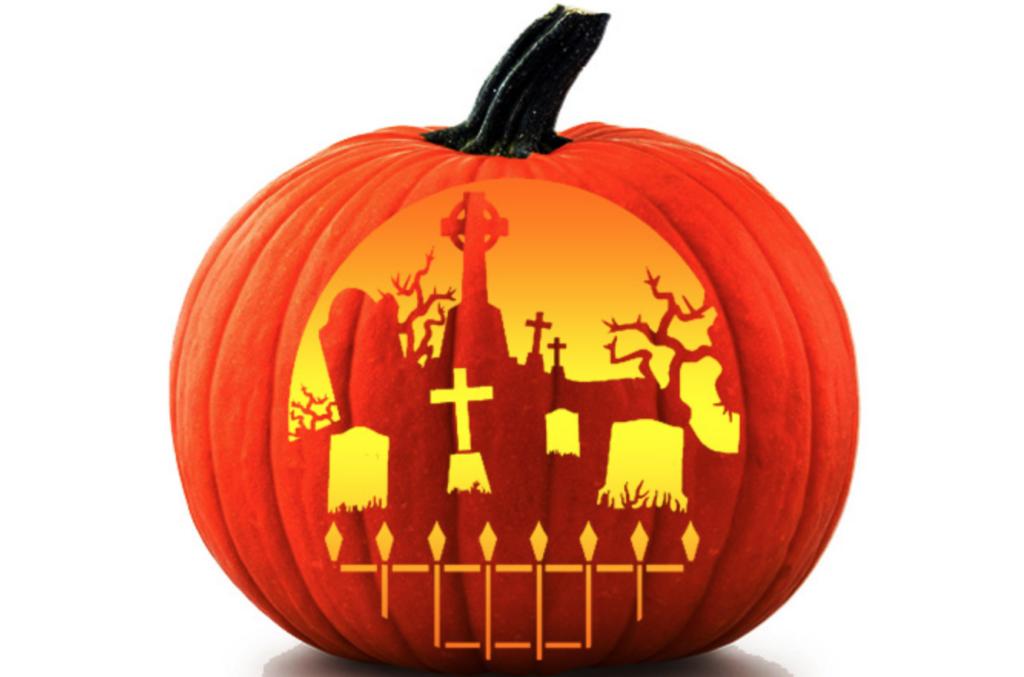 Graveyard pumpkin pattern for Halloween carving ideas. | The Dating Divas