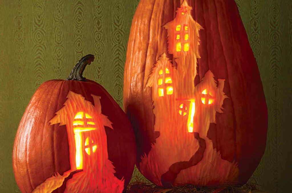 Haunted House pumpkin carving template. | The Dating Divas
