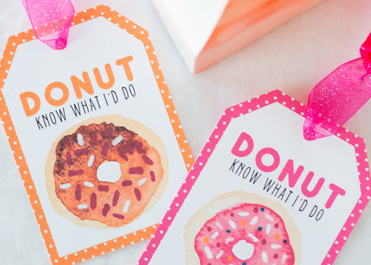 Give a sweet treat with this donut themed teacher appreciation idea. | The Dating Divas