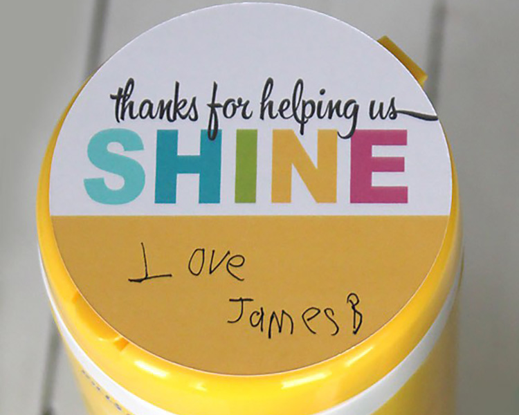 Shine and sanitize with this teacher appreciation idea. | The Dating Divas