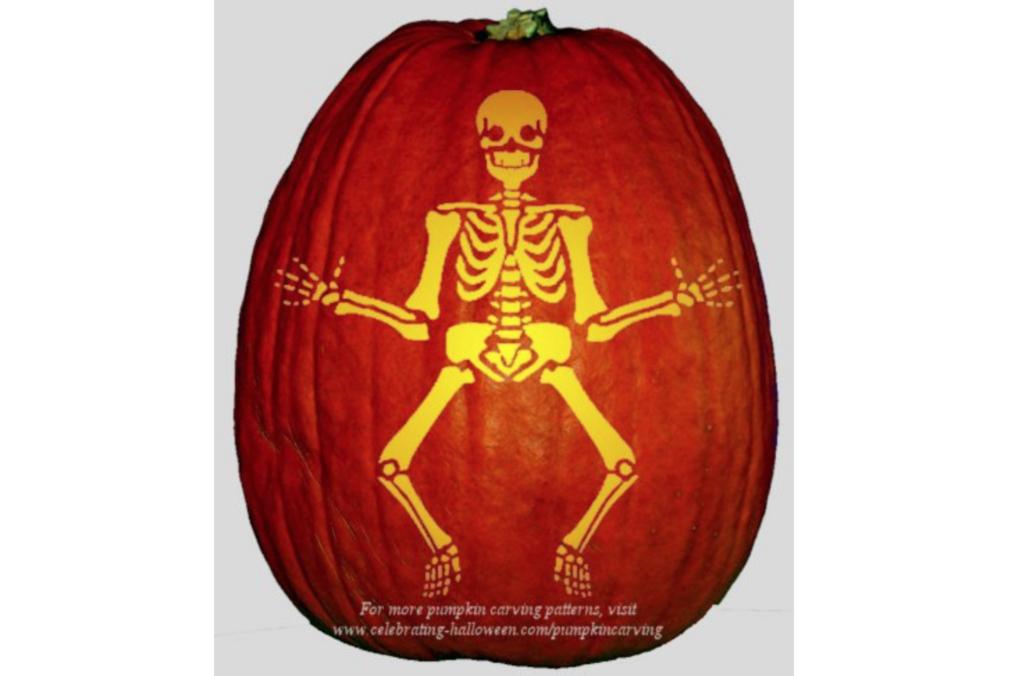 Skeleton pumpkin carving inspiration and free pumpkin stencil ideas. | The Dating Divas