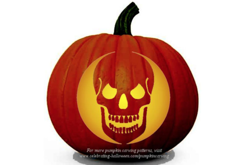 Skull Carving Stencil for Pumpkins | The Dating Divas