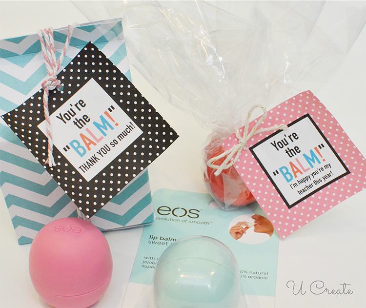 Say thank you to teachers with this cute lip balm tag for teacher appreciation week. | The Dating Divas