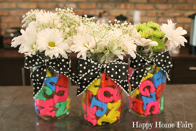 For alphabet themed teacher appreciation ideas, these vases are number 1. | The Dating Divas