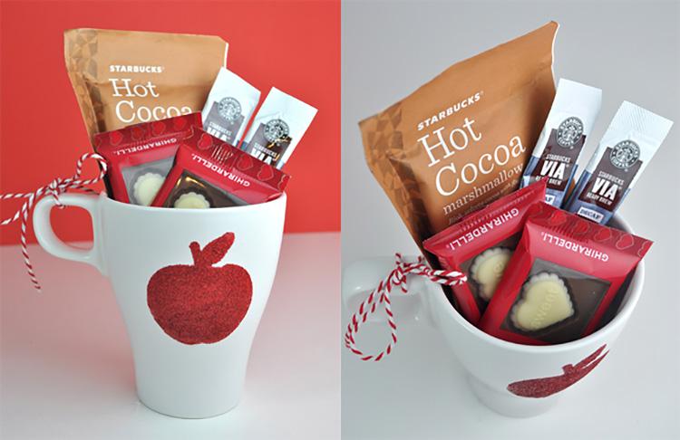 DIY a glitter mug for one of your teacher appreciation week ideas. | The Dating Divas