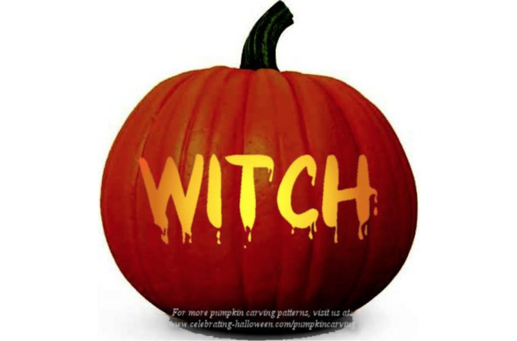 Witch pumpkin carving ideas for Halloween pumpkin carving pattern. | The Dating Divas