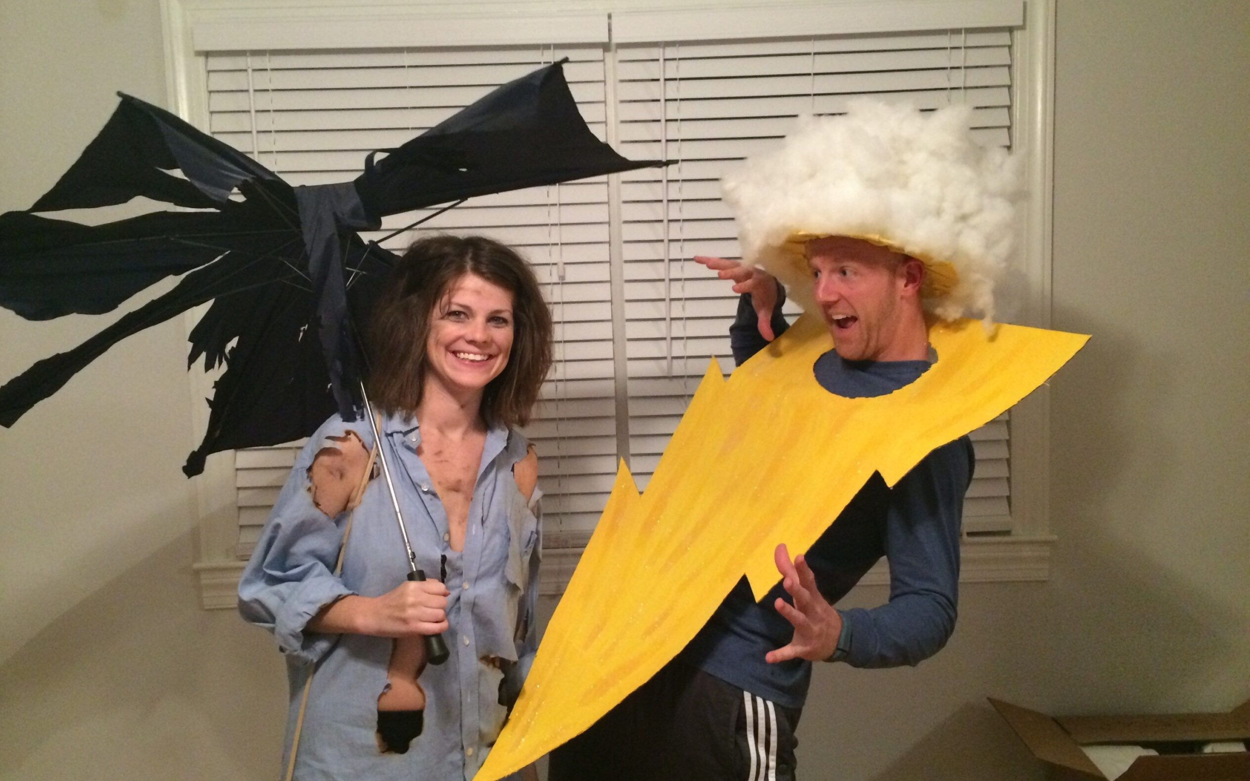 Lightning bolt and victim couples costume for Halloween. | The Dating Divas