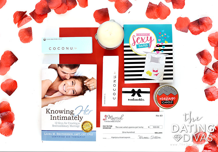 Giveaway basket for Intimately Us download. | The Dating Divas