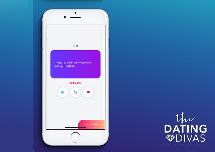 An example of the sexploration survey included in the Intimately Us app. |The Dating Divas