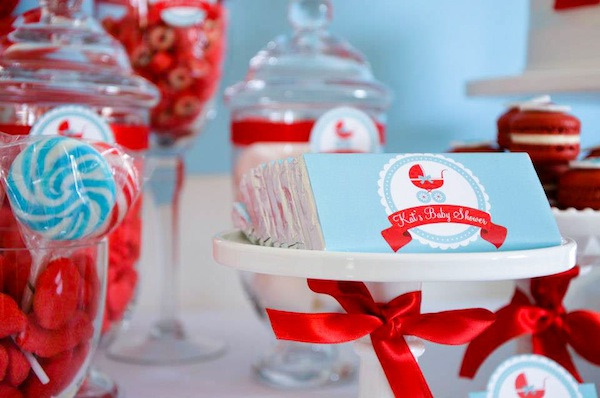 Aqua and red baby shower theme | The Dating Divas