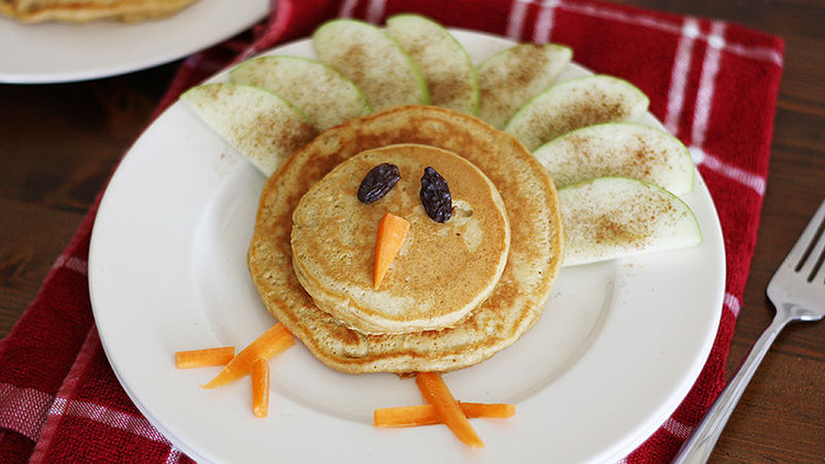 Stack your pancakes and make feathers from apples for this 