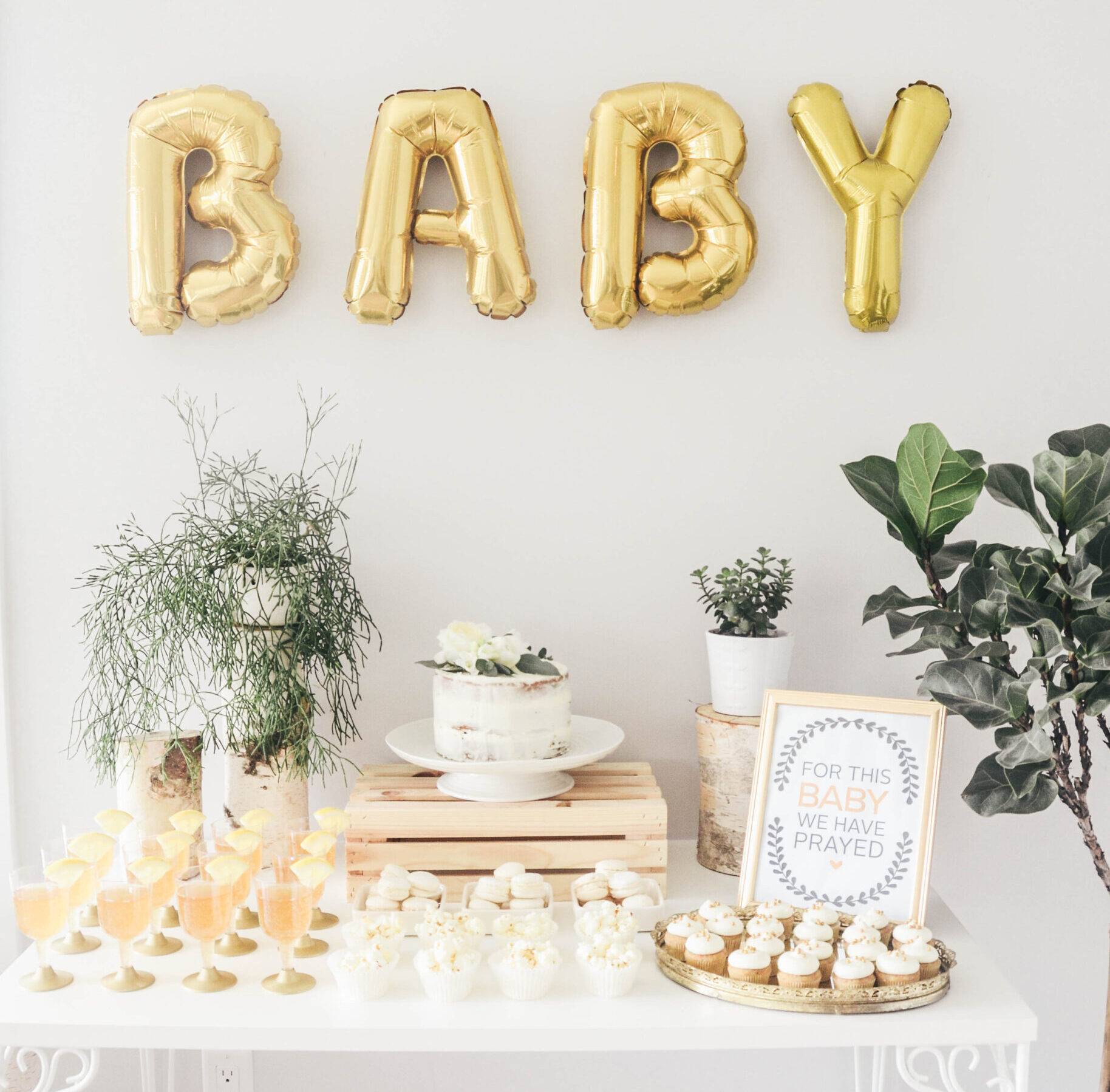 Gold and Birch Gender Neutral Baby Shower Theme | The Dating Divas