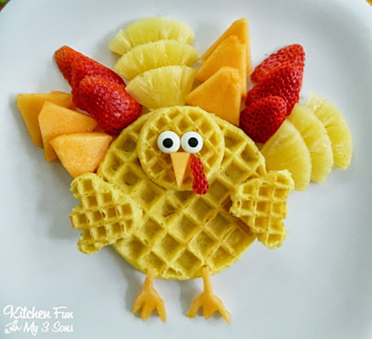 Make an adorable turkey breakfast waffle and other thanksgiving food ideas. | The Dating Divas